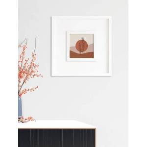 RANDOM White & Brown Small Plant In Sand Wall Art Painting