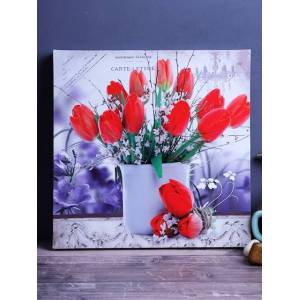 A Vintage Affair- Home Decor Red & White Vintage Bouquet Borderless Frame
