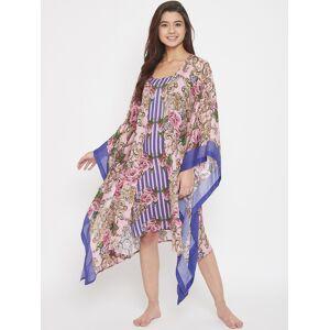 The Kaftan Company Women Blue & Pink Printed Nightdress
