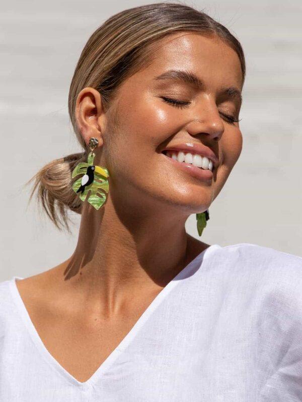 Toucan Resin Earrings