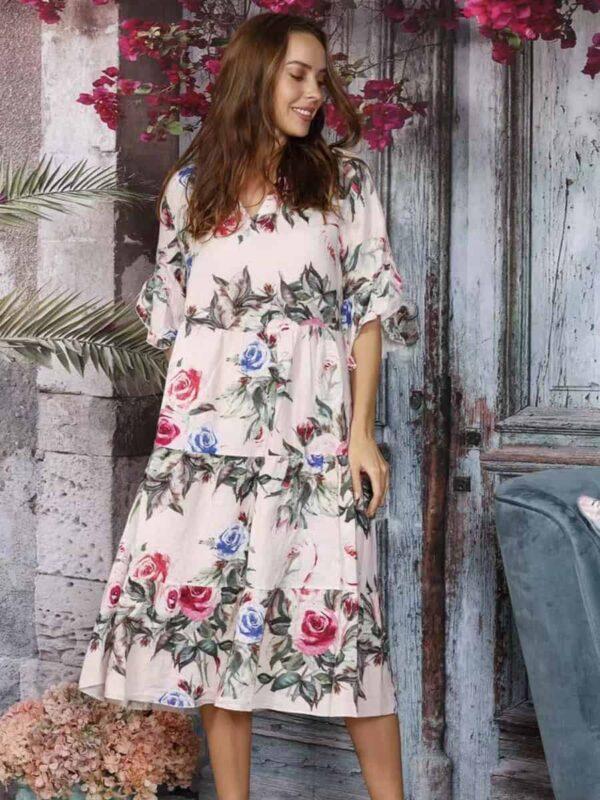 Floral Linen Cotton Dress
