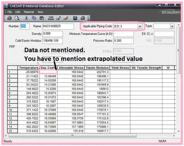 Caesar II material database editor.