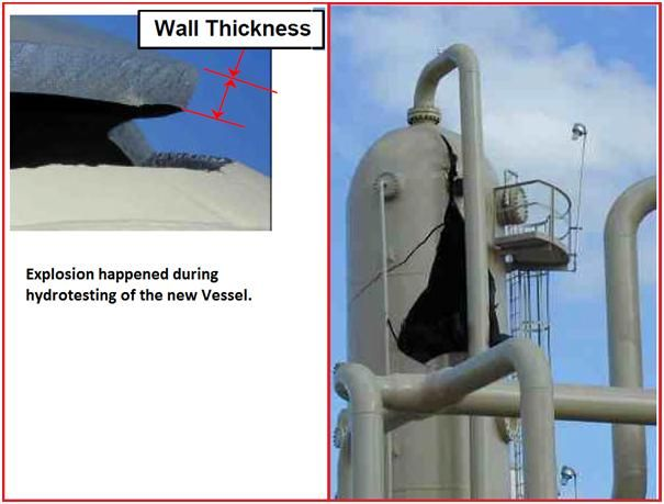 Explosion of a vertical vessel during hydrotesting