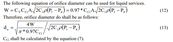 Orifice Diameter Equation for Liquid Service