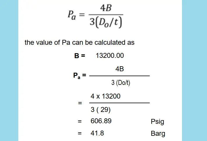 Maximum Allowable External Working Pressure Calculation Formula
