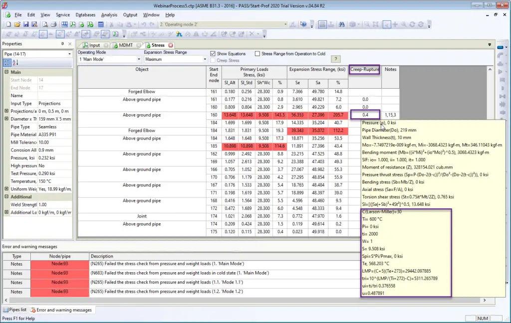 Creep-Rupture Usage Factor output in Start-Prof