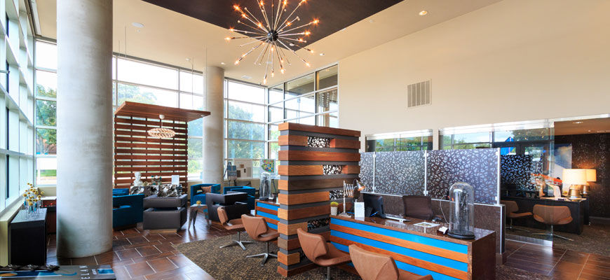 Interior lobby of luxury apartments