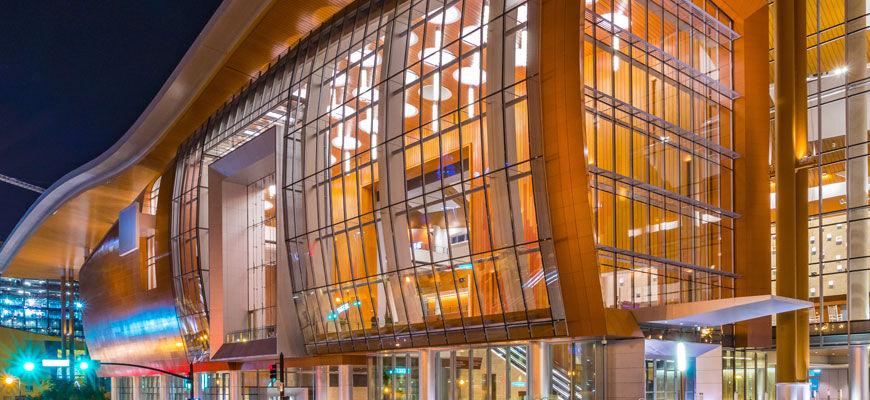 Exterior of unique cantilevered building design