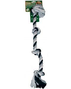 Floss-toy 4-knoop Zwart/wit