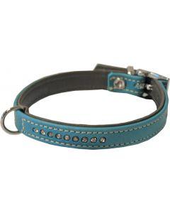 Hondenhalsband Nappa Met Strass Turquoise / Grijs
