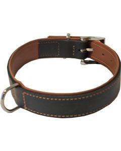 Hondenhalsband Soft Gevoerd Zwart / Cognac