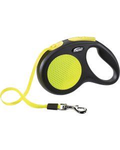 Flexi Rollijn Neon Tape Zwart/geel M 5 Mtr