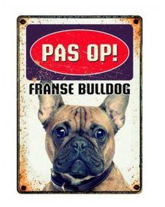 Plenty Gifts Waakbord Blik Franse Bulldog 15x21 Cm