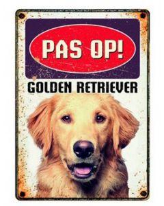 Plenty Gifts Waakbord Blik Golden Retriever 15x21 Cm