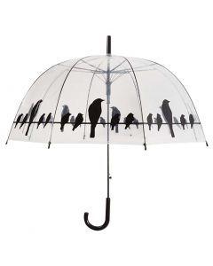 Paraplu Vogels Op Draad Transparant / Zwart 81,5 Cm