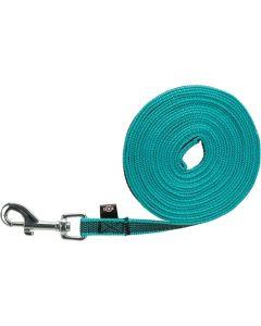Trixie Hondenriem Sleeplijn Met Rubber Turquoise 10 Mtr X 1,5 Cm