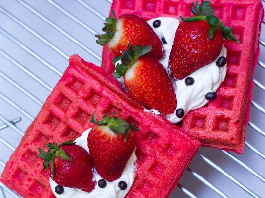 Waffles con proteína sabor fresa