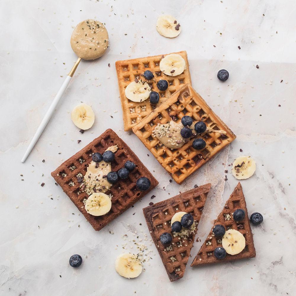 Waffles con proteína sabor brownie