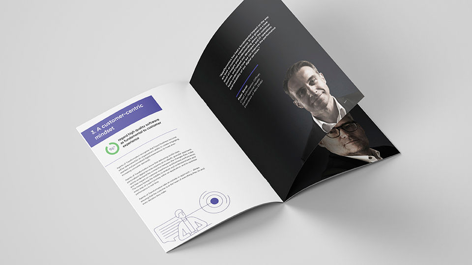 An open brochure, featuring some branded articles for AppDynamics