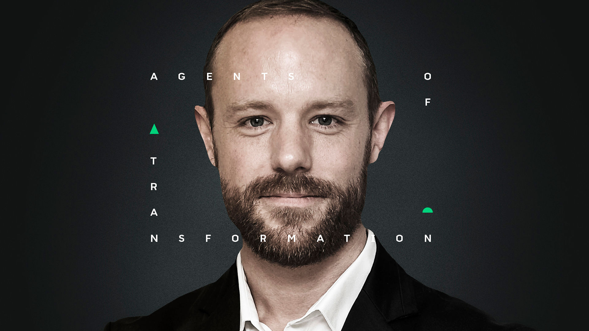 A headshot of a smartly dressed person, with Agents of Transformation text graphic placed ontop