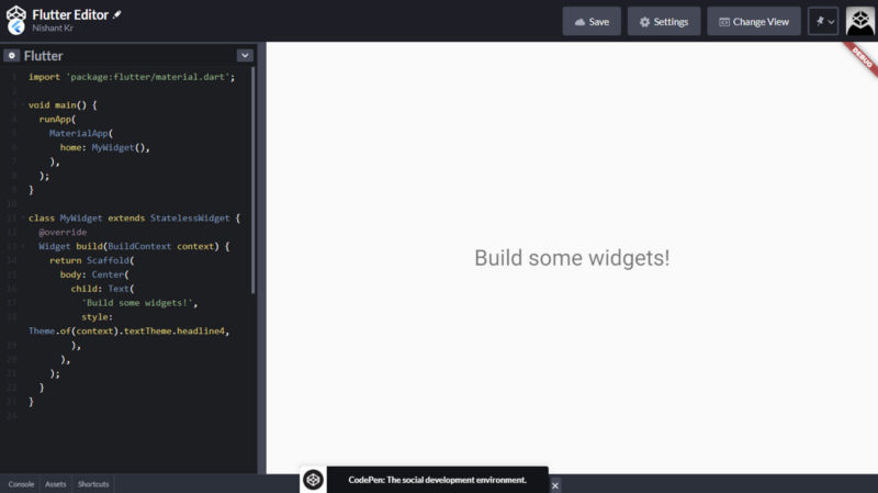 Default Flutter Editor on Codepen