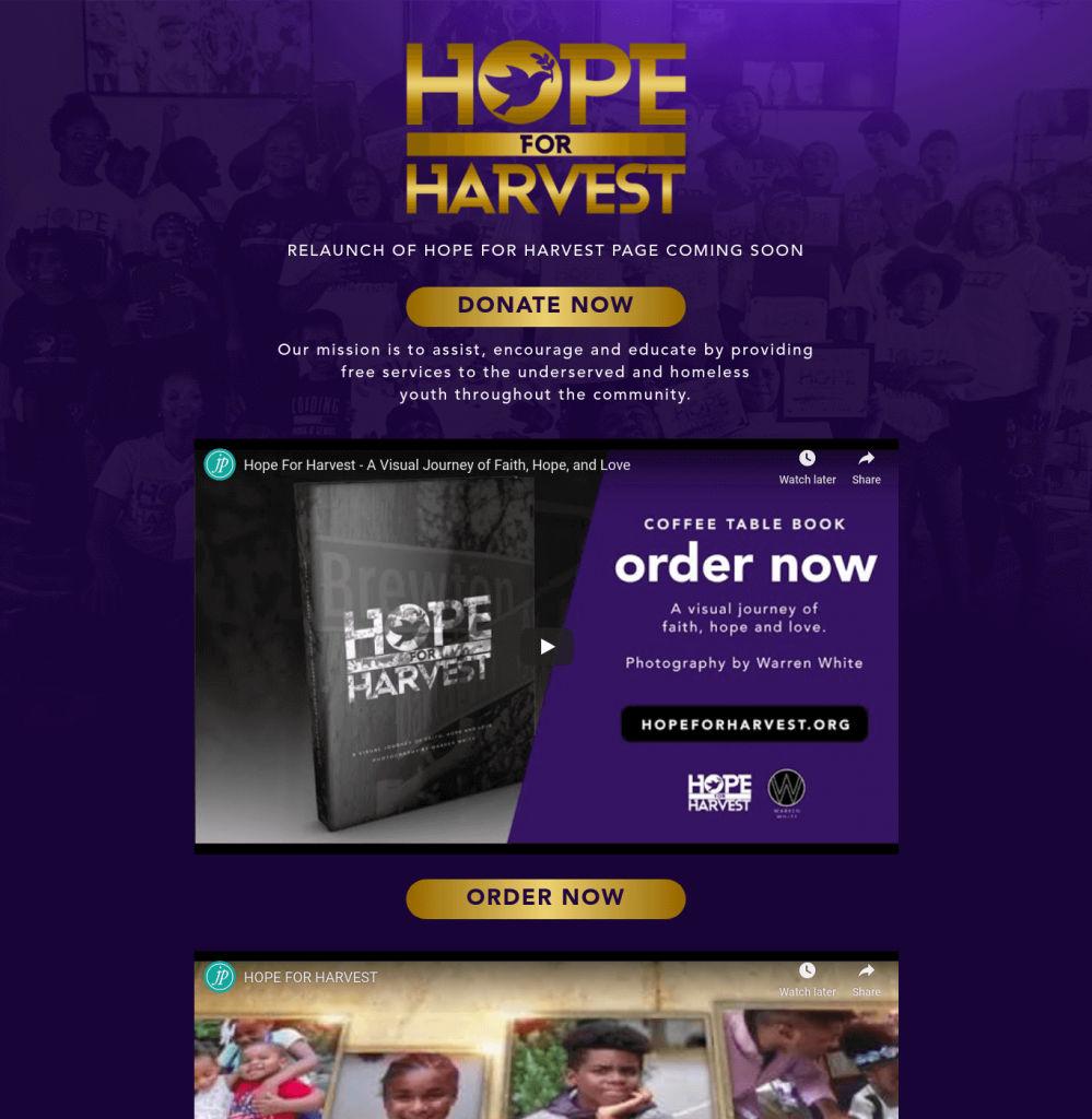 Hope For Harvest - Web Designing