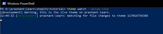 setting the watch for theme changes