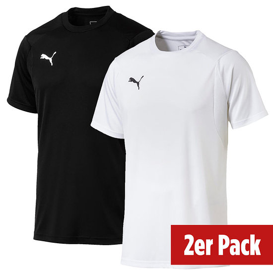 Puma 2er Set T-Shirt Training LIGA Schwarz/Weiß