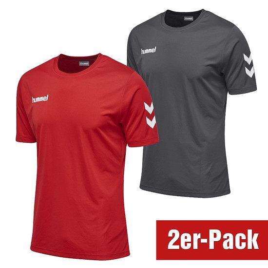 hummel 2er Set T-Shirt Core Poly Grau/Rot