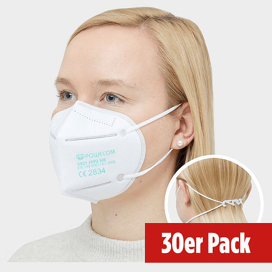 POWECOM Partikelfiltrierende Halbmaske FFP2 30er Pack weiß