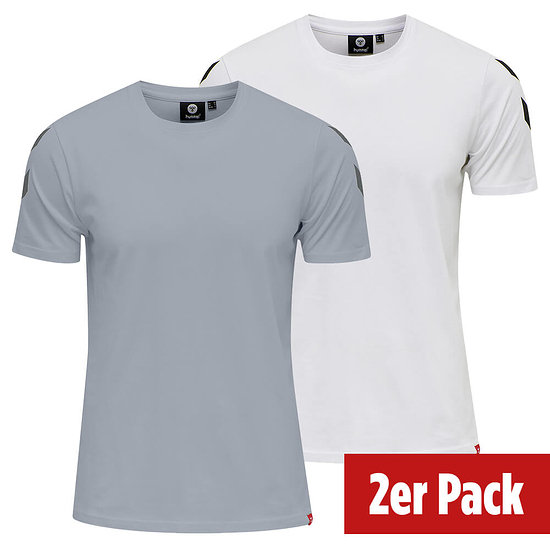 hummel 2er Set T-Shirt Legacy Chevron grau/weiß