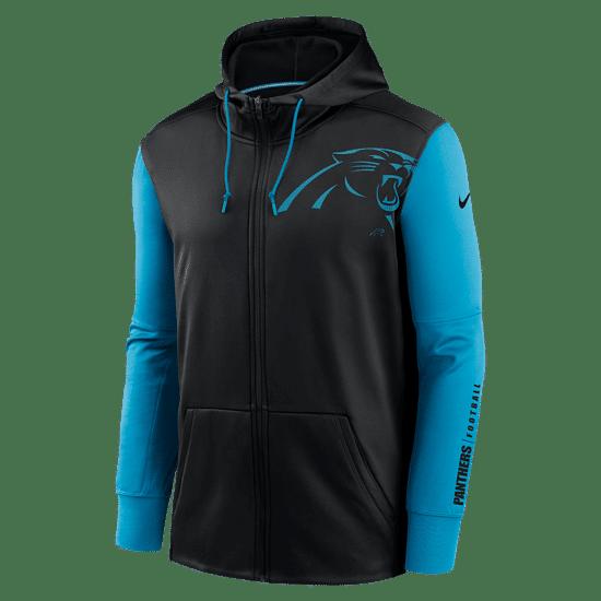 Nike Carolina Panthers Kapuzenjacke Therma Left Chest Mascot schwarz/tidal blue