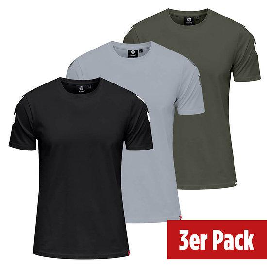 hummel 3er Set T-Shirt Legacy Chevron schwarz/grau/beetle