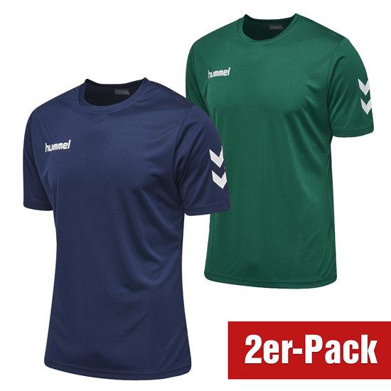 hummel 2er Set T-Shirt Core Poly Marine/Grün