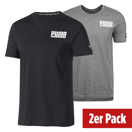 Puma T-Shirt Athletics Style 2er Set grau/schwarz