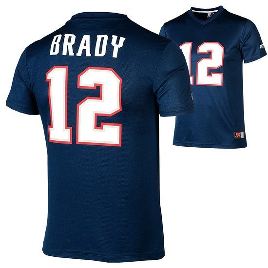 Majestic Athletic New England Patriots PolyMesh T-Shirt Brady Nr 12 blau
