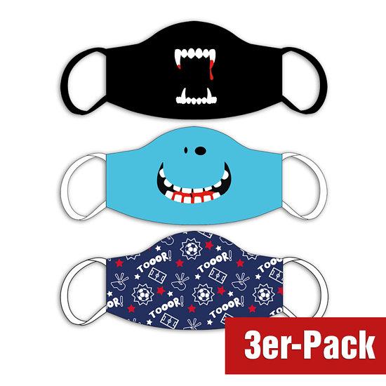 3er Set Mund-Nase Maske Kinder Buben Mix