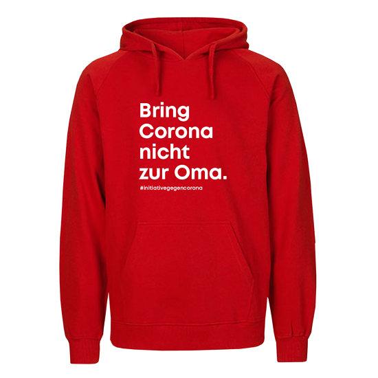 """Neutral Hoodie Bio-Baumwolle """"Bring Corona nicht zur Oma."""" rot"""