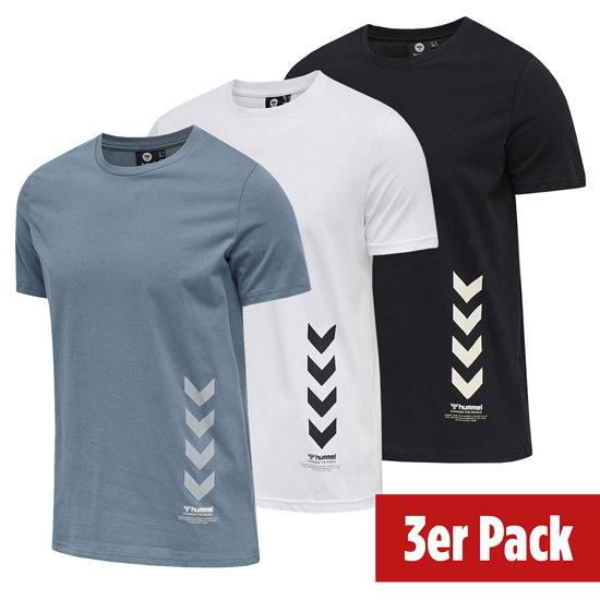 hummel 3er Set T-Shirt Duncan Bio-Baumwolle schwarz/china blue/weiß
