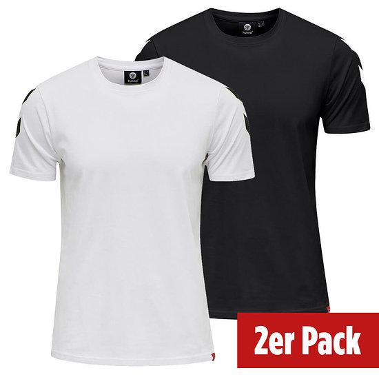 hummel 2er Set T-Shirt Legacy Chevron schwarz/weiß