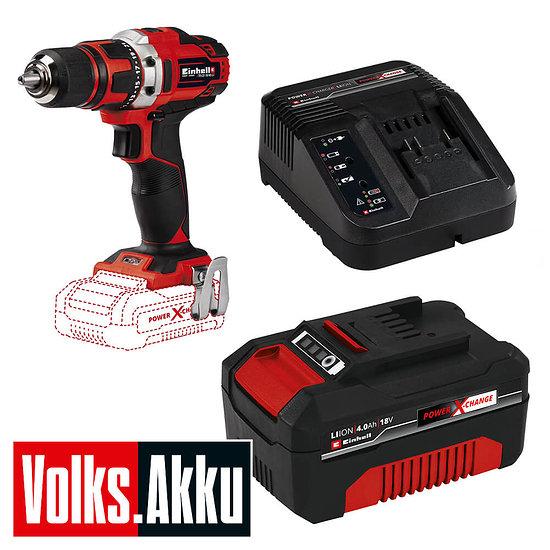 Einhell Akku-Bohrschrauber TE-CD 18/40 inkl. Akku+Ladegerät Rot/Schwarz
