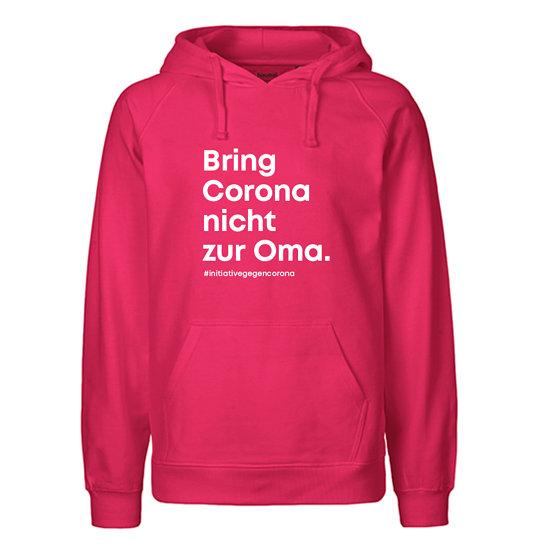 """Neutral Hoodie Bio-Baumwolle """"Bring Corona nicht zur Oma."""" pink"""
