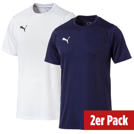 Puma 2er Set T-Shirt Training LIGA Weiß/Blau