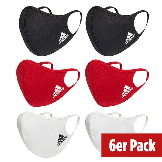 Adidas 6er Set Mund-Nase Maske Kinder Schwarz/Rot/Weiß
