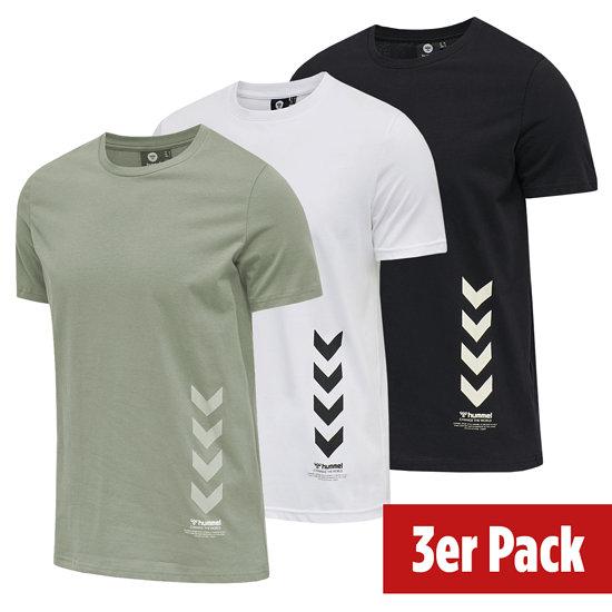 hummel 3er Set T-Shirt Duncan Bio-Baumwolle schwarz/vetiver/weiß
