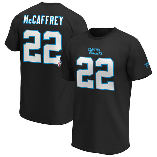 Fanatics Carolina Panthers T-Shirt Iconic N&N McCaffrey No 22 schwarz