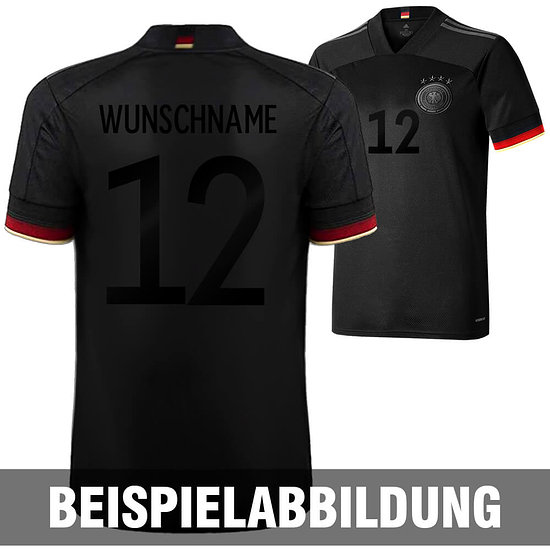 Adidas Deutschland EM 2021 DFB Trikot Auswärts SCHWARZER FAN-AUFDRUCK Kinder