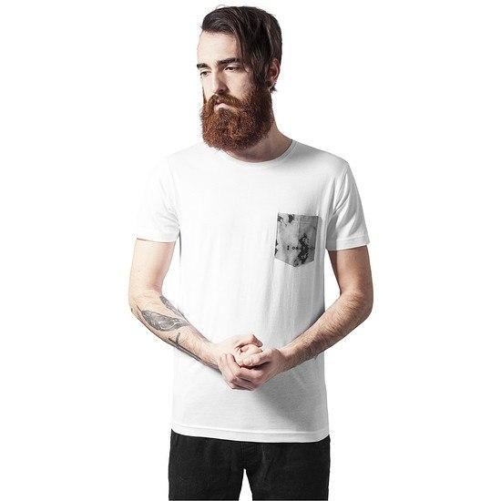 URBAN CLASSICS T-Shirt Contrast Pocket weiß/marmor