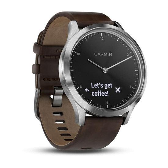 Garmin Hybrid-Smartwatch vivomove HR Premium silber/schwarz/braun