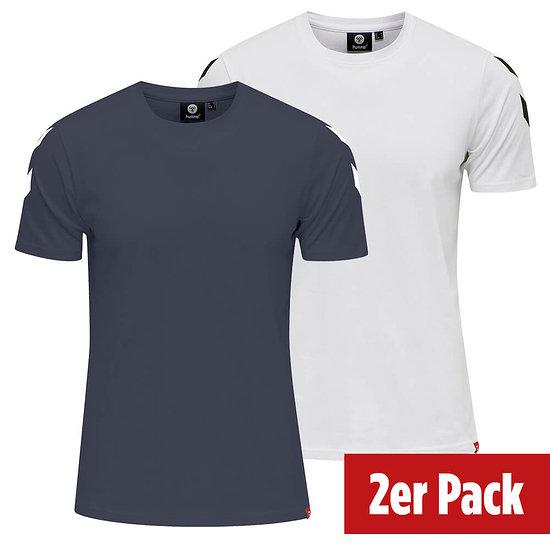 hummel 2er Set T-Shirt Legacy Chevron blue nights/weiß